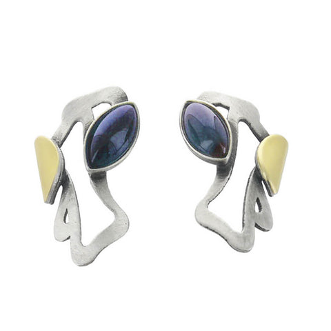 Christophe Poly Silver Gold Blue Marquise Post Earrings