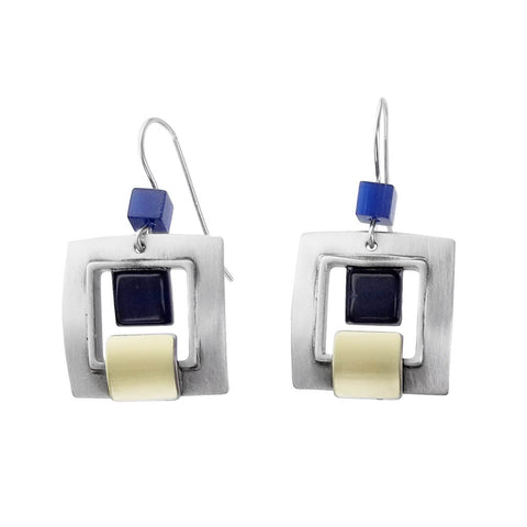 Christophe Poly Silver Gold Blue Purple Squares Earrings