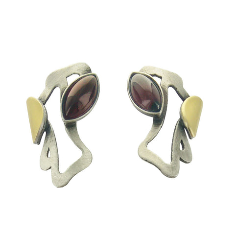 Christophe Poly Silver Gold Red Marquise Post Earrings