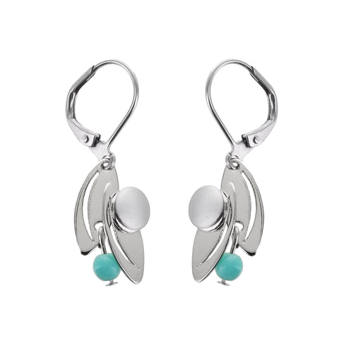 Christophe Poly Silver Petals Turquoise Earrings