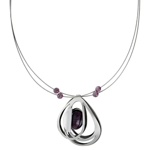 Christophe Poly Silver Purple Petals Necklace