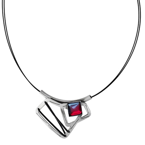 Christophe Poly Silver Square Strand Pendant Necklace