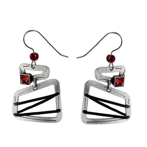 Christophe Poly Silver Square String Earrings