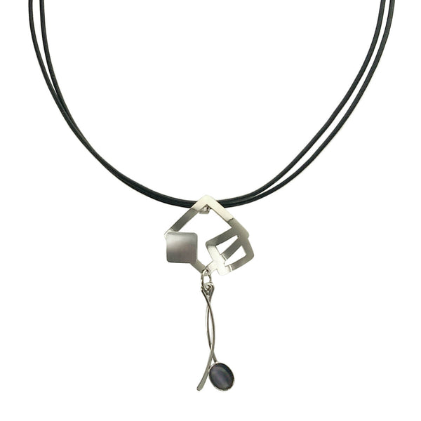 Christophe Poly Squares & Dangles Leather Necklace