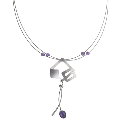 Christophe Poly Silver Squares Dangles Necklace
