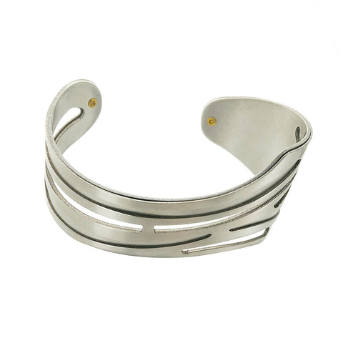 Christophe Poly Silver Tapered Cutout Cuff Alternate View