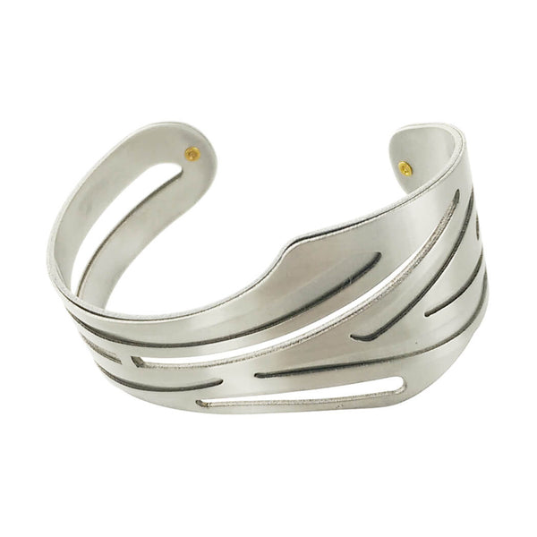 Christophe Poly Silver Tapered Cutout Cuff