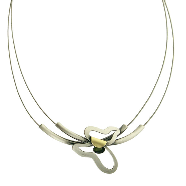 Christophe Poly Silver Tubes Butterfly Necklace
