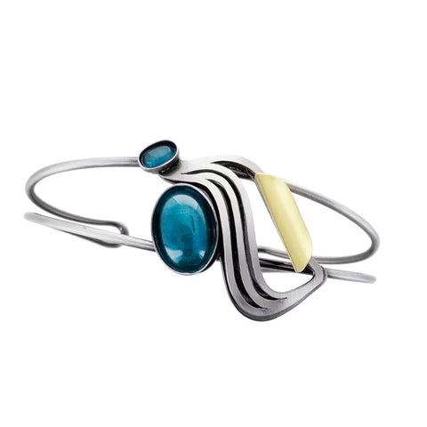 Christophe Poly Silver Wave Blue Cuff