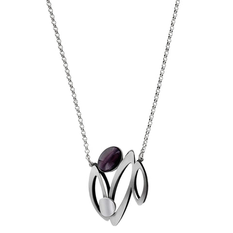 Christophe Poly Silver Purple Blooming Flower Chain Necklace