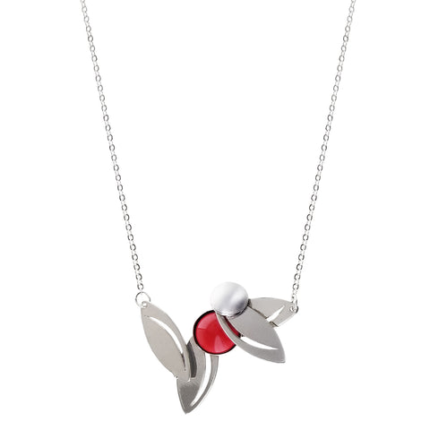Christophe Poly Smiling Leaves Red Circle Necklace