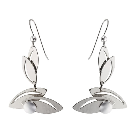 Christophe Poly Smiling Leaves Silver Earrings