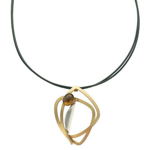 Christophe Poly Dynamic Soft Triangles Leather Necklace