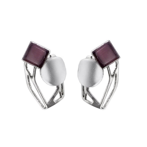 Christophe Poly Square Circle Silver Purple Post Earrings