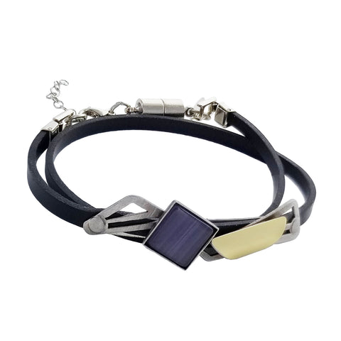 Christophe Poly Square Semi Circle Double Wrap Bracelet