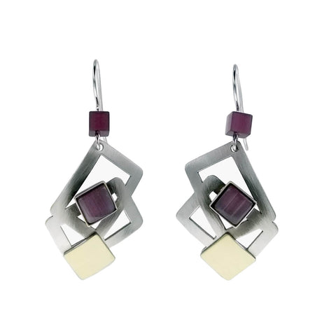 Christophe Poly Squares Earrings In Gold Silver and Mauve
