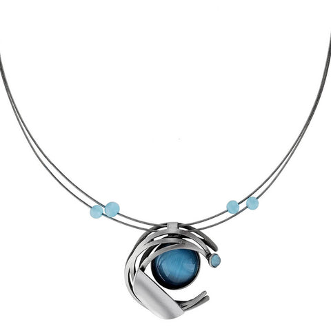 Christophe Poly Striated Moon Pendant Necklace