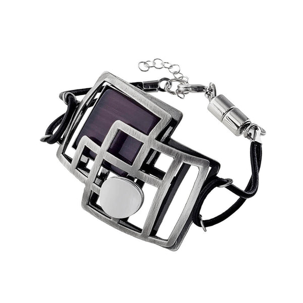 Christophe Poly Strong Squares Leather Bracelet