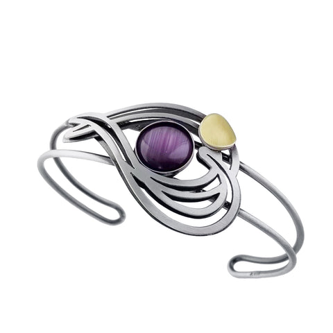 Christophe Poly Swirling Heart Cuff In Purple Silver and Gold