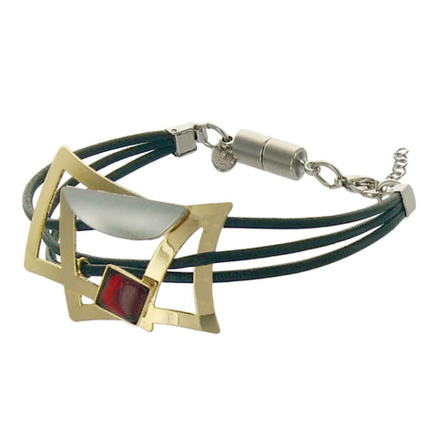 Christophe Poly Mixed Metal Squares Triple Leather Bracelet