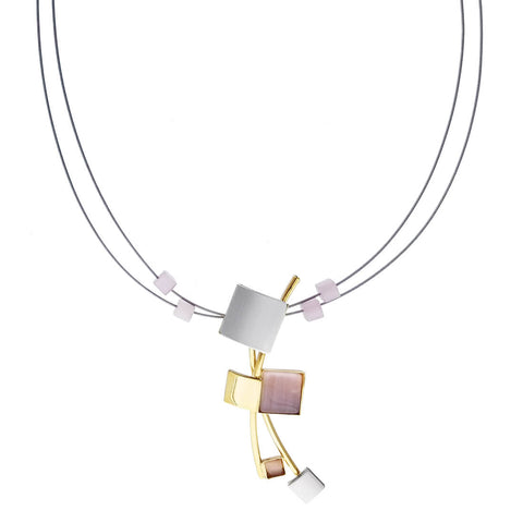 Christophe Poly Tumbling Squares with Pink Champagne Necklace