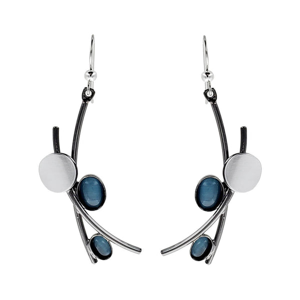 Christophe Poly Two Tone Silver Blue Earrings