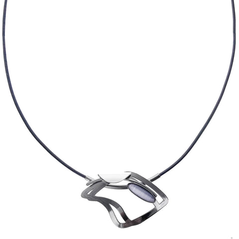 Christophe Poly Wavy Square Leather Pendant Necklace