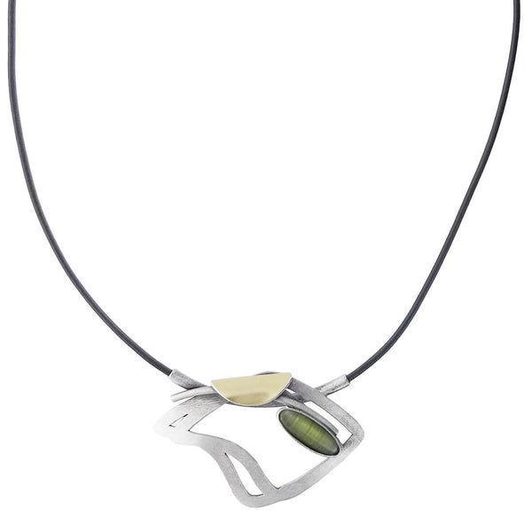 Christophe Poly Wavy Square Leather With Green Pendant Necklace