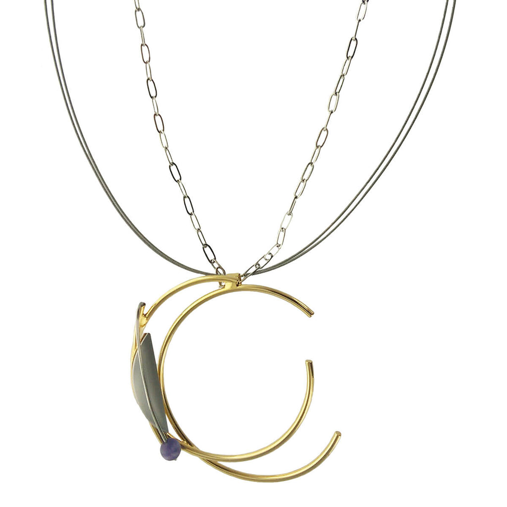 Christophe Poly Wire Chain Double Hoop Necklace – Sheva Jewelry