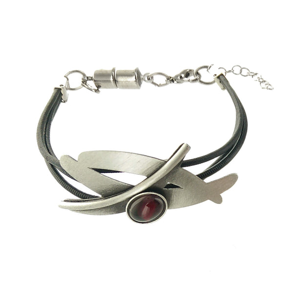 Chistophe Poly Wispy Silver Red Leather Bracelet