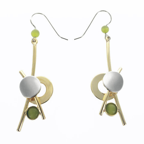 Christophe Poly Gold Green Earrings With Rods & Circles