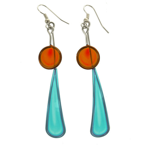 Christopher Royal Blue Long Teardrop Orange Circle Earrings