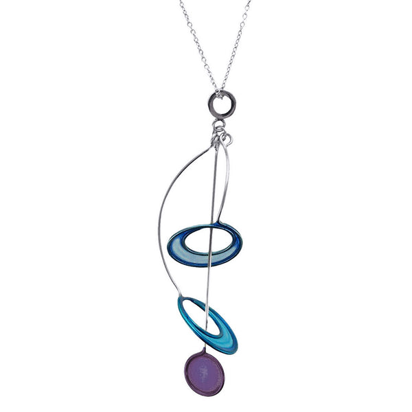 Christopher Royal Circle Drop Through Hoops Necklace