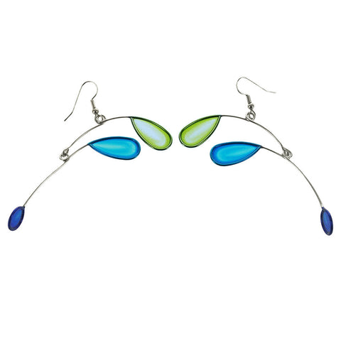 Christopher Royal Blue And Green Leaves Earrings