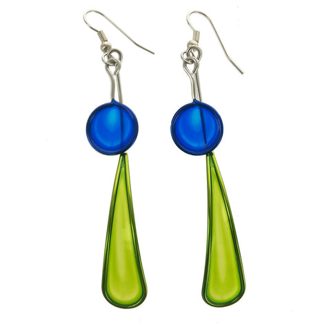 Christopher Royal Green Long Teardrop Blue Circle Earrings
