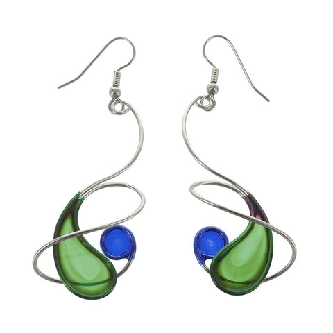 Christopher Royal Spiral Around Paisley Green Blue Earrings