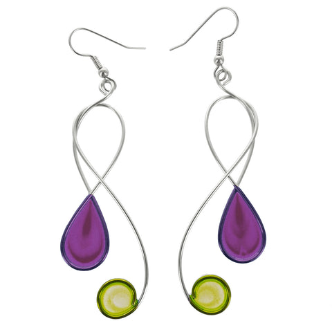 Christopher Royal Swirling Clef Purple Green Earrings