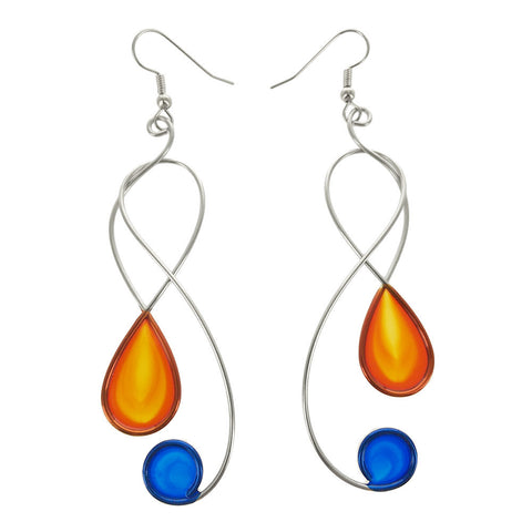 Christopher Royal Swirling Clef Earrings In Orange and Blue