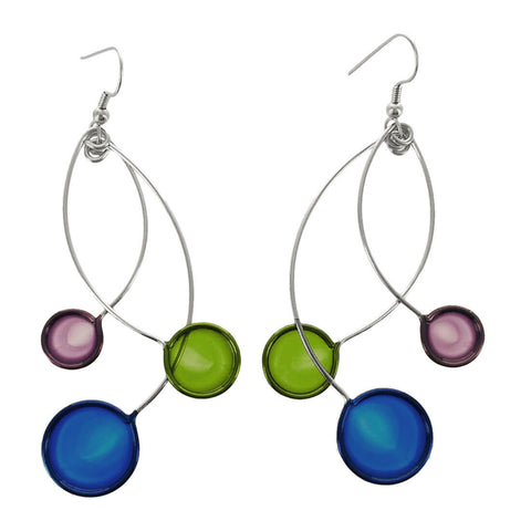 Christopher Royal Blue Green Purple Circle Earrings