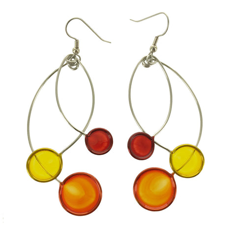 Christopher Royal Orange Red Yellow Circle Earrings