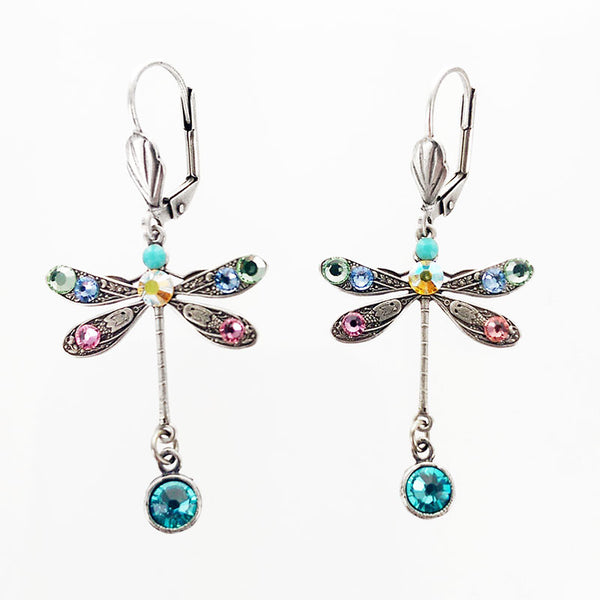 Colorful Crystal Dragonfly Drop Earrings