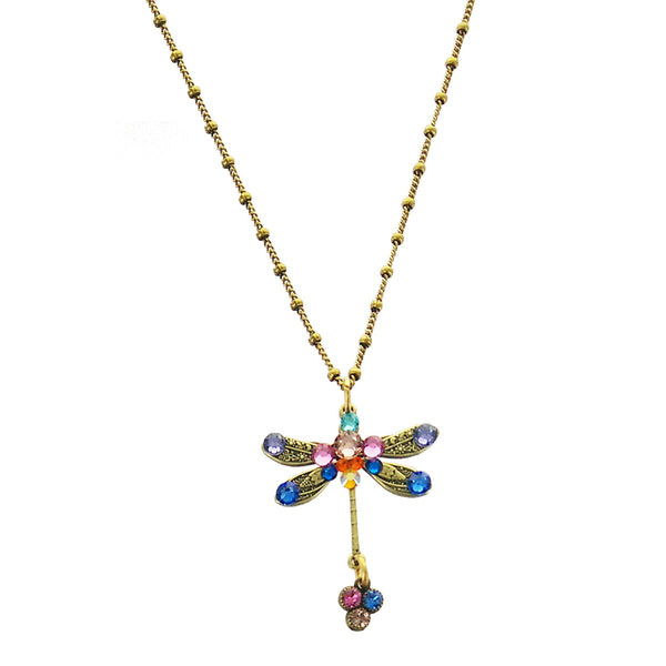 Colorful Crystal Dragonfly Drop Necklace