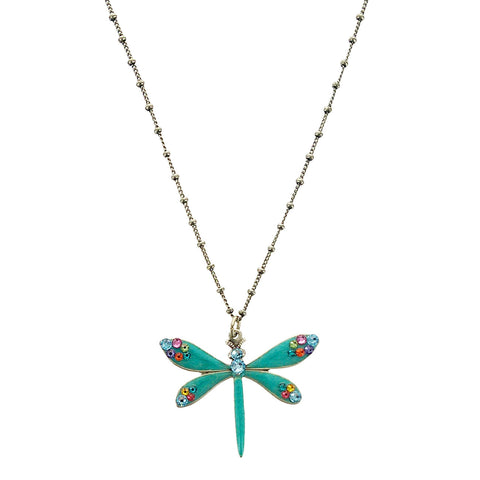 Multi Color Crystal Turquoise Dragonfly Necklace
