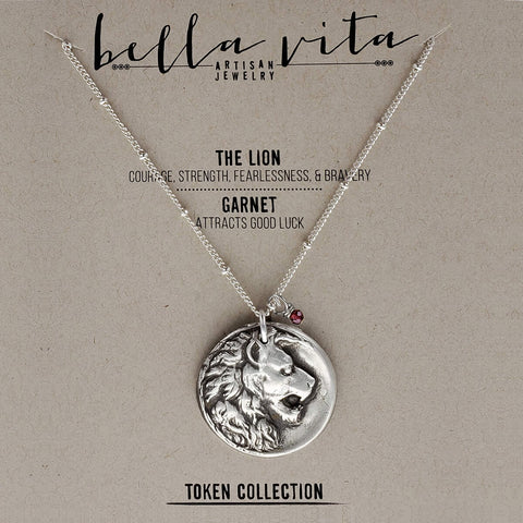 Lion Courage Strength Silver Pendant Necklace