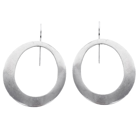 French Silver Ziggy Hoop Earrings
