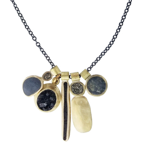 David Urso Bronze Five Charm Pendant Necklace