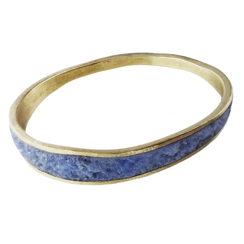 David Urso Bronze Periwinkle Quartz Wave Bangle Bracelet Another View