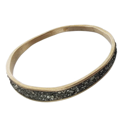David Urso Bronze Pyrite Wave Bangle Bracelet Another View