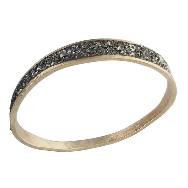 David Urso Bronze Pyrite Wave Bangle Bracelet