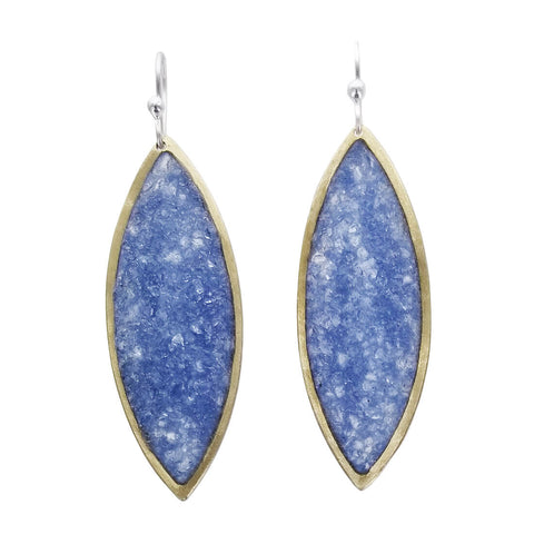 David Urso Bronze Slate Blue Quartz Marquies Earrings